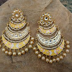 Women's Copper Pearl and Meenakari Chandelier Earrings in Golden and Yellow Indian Bridal Jewelry Sets, Indian Jewelry Earrings, Jewelry Design Earrings, Ear Jewelry, Fashion Earrings, Ethnic Jewelry, Fashion Jewelry, Traditional Earrings, Gold Jewelry Simple
