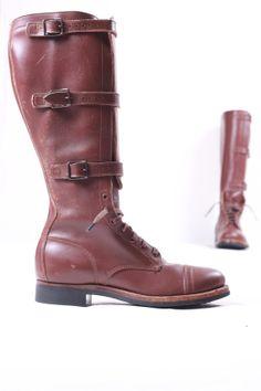 vintage triple buckle lace up knee high jump combat military boots sz men's 8 women's 10