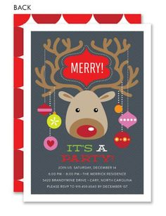 Merry Reindeer Holiday Party Invitation #holiday #party #invitation
