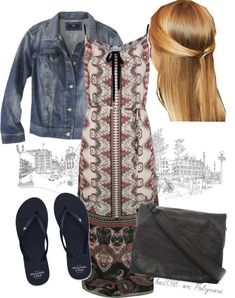 """""""Maxi dress and jean jacket"""" by bec1098 on Polyvore"""