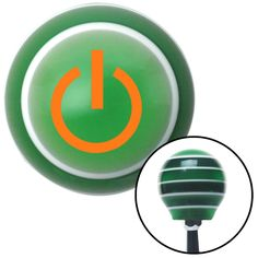 Orange Power Green Stripe Shift Knob with M16 x 15 Insert