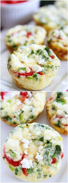 Egg Muffins with Kale, Roasted Red Peppers, and Feta. These healthy egg muffins are great for breakfast on the go!
