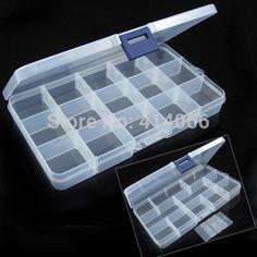 Envío gratis Plastic Jewelry 15 Slots caja de herramientas caja ajustable del Craft Beads almacenamiento organizador
