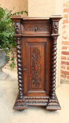 Antique French Carved Oak BARLEY TWIST END TABLE Pedestal -Nightstand #Renaissance. C. 1800-1899.