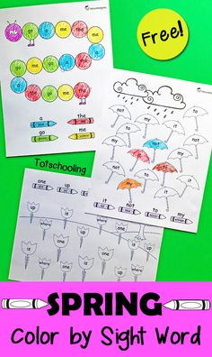 FREE Spring themed sight word coloring activity for preschool and kindergarten, featuring a caterpillar, umbrellas and flower garden!