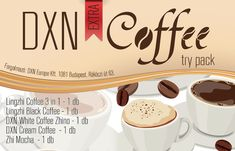 Extra Coffee Try Pack A csomag tartalma: DXN Cream Coffee g) - 1 tasak Lingzhi Black Coffee g) - 1 tasak Lingzhi Coffee g) - 1 tasak DXN White Coffee Zhino g) - 1 tasak Zhi Mocha g) - 1 tasak White Coffee, Mochi, Healthy Life, Packing, Mugs, Cream, Tableware, Wellness, Products