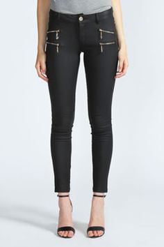 Cate Double Zip Skinny Wet Look Jeans at boohoo.com