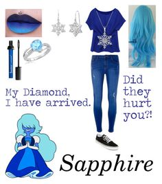"""Steven Universe: Sapphire"" by mysterious-emo-girl ❤ liked on Polyvore featuring Dorothy Perkins, Amanda Rose Collection and Vans"
