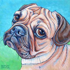 """8"""" x 8"""" Custom Pet Portrait Painting in Acrylic Paint on Canvas of One Dog, Cat, Ferret, Other Pet, Modern Pet Lover Gift, Wall Decoration, or Animal Memorial, $90.00  Shown is Lola the Pug French Bulldog Mix See more at www.petportraitsbybethany.com"""