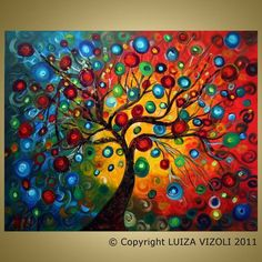 Original Large Painting SEASONS SERENADE Modern Abstract Fantasy Tree Landscape Made to Order- sizes available see description.Seasons Serenade by Luiza Vizoli.do tree, then keep background white and drip 'leaves' with eye dropper for more singular e Large Painting, Dot Painting, Painting Canvas, Great Paintings, Landscape Paintings, Landscape Tattoo, Landscape Quilts, Landscape Pictures, Tree Canvas