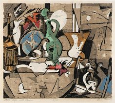 Still Life with Chair, n.d., Lena Gurr, color woodcut with hand coloring on paper, 11 1/2 x 13 1/8 in. (29.2 x 33.3 cm.), Smithsonian American Art Museum