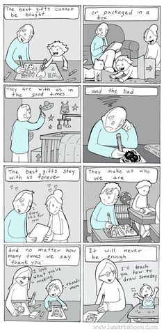 This is just beautiful. Comic by Lunarbaboon, harvested from Twitter (@Lunarbaboon). Site: http://www.lunarbaboon.com/