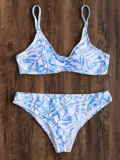 5ac4c613e83cb SheIn offers White Leaf Print Bikini Set   more to fit your fashionable  needs.
