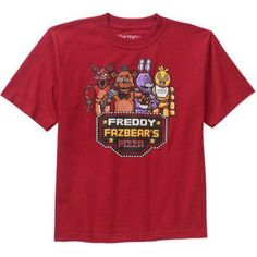 Five Nights at Freddy's Pixelated Boys' Graphic Tee, Size: 6/7, Red