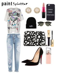 """""""#hotmess"""" by nanamariam on Polyvore featuring Dsquared2, Chanel, Moschino, Christian Louboutin, Kate Spade, MAC Cosmetics, Ray-Ban, HUGO and paintsplatter"""
