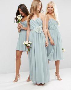ASOS WEDDING Chiffon Bandeau Maxi Bridesmaid Dress with Detachable Corsage