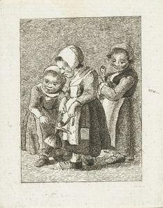 Drie meisjes met poppen, Pieter de Mare, 1777 - 1779