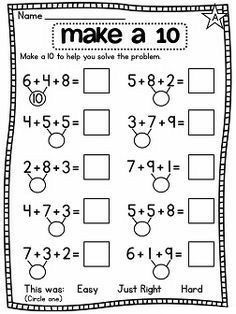 Make a 10 | Worksheet School First Grade Math Worksheets, Second Grade Math, Kindergarten Worksheets, Eureka Math, Math Addition, Addition Worksheets, Homeschool Math, Math Facts, Math For Kids