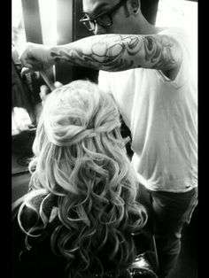 My best friend's wedding hair and our hair dresser's sleeve. i take some awesome pics! ha