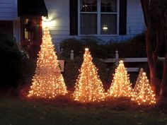 Light up your front yard this Christmas season with Crab Pot Christmas Trees. Light up your front ya Christmas Tree Yard, Potted Christmas Trees, Outdoor Christmas Decorations, Holiday Decor, Trees For Front Yard, Light Up, Seasons, Garden, Flat