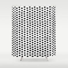 Black #Stars Design #Shower #Curtain