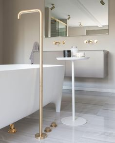 Our take on the contemporary bath filler. This bath was positioned in the centre of the room for the ultimate in luxury. The client fell in… Bad Inspiration, Bathroom Inspiration, Contemporary Baths, Brass Bathroom, Bathroom Interior Design, Bathroom Accessories, Shabby Chic, Minimalist, Bathrooms