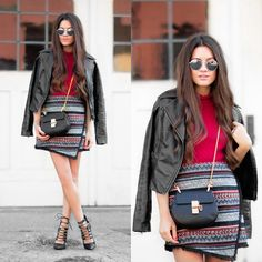 Get this look: look/7827500  More looks by Sarah: sarahstylesseattle  Items in this look:  Chloé Handbag, Sam Edelman Skirt, Sam Edelman Crop Sweater, Express Leather Jacket, Ray Ban Sunglasses   #bohemian #chic #street #skirt #sweater #fall #red #leather #leatherjacket