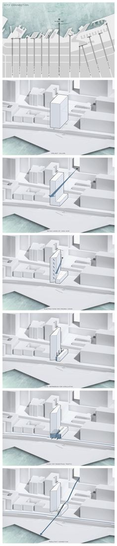 Waterfront Seattle - Massing Diagram Series Creator - Steven Loutherback Programs - Rhino, Adobe Illustrator, Adobe Photoshop