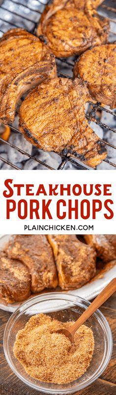 Steakhouse Pork Chops - hands down the BEST pork chops we've ever eaten!! Ridiculously easy to make! Marinate pork chops in steak seasoning and Worcestershire sauce then sprinkle with a delicious steakhouse rub of brown sugar, salt, garlic powder, onion powder, cumin, black pepper, cayenne pepper, and dry mustard. Ready to eat in under an hour! We made these twice in one week!! Our go-to pork chop recipe! #pork #porkchop #grilling @iowapork #sponsored Pork Chop Recipes, Spicy Recipes, Grilling Recipes, Meat Recipes, Cooking Recipes, Grilled Fruit, Grilled Pork, Pork Cooking Temperature, Pork