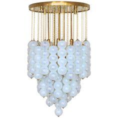 Very Huge Opaline Murano Glass Balls and Brass Chandelier by Mazzega