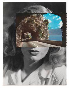 John stezaker's work is made using collage of classic movie stills, vintage postcards and publicity photographs. Stezaker creates surreal effects giving new image scenarios. Photomontage, Artistic Photography, Art Photography, Exposure Photography, John Stezaker, Mystique, Mixed Media Collage, Illustrations, Online Art