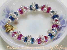 The Colorful Pearls and Crystals Bracelet is a beautiful way to update classic pearl jewelry. The design shows how to contrast pearls and crystals while seamlessly weaving each bead type together to form a beautiful DIY jewelry piece.