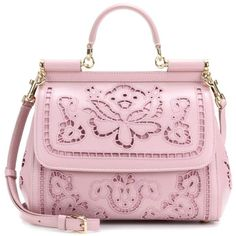 Dolce & Gabbana Sicily Medium Embroidered Leather Tote ($4,175) ❤ liked on Polyvore featuring bags, handbags, tote bags, pink, pink purse, genuine leather tote, tote purses, handbags totes and pink tote bags