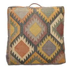 Coussin de sol, pouf en coton motif ethnique Hübsch