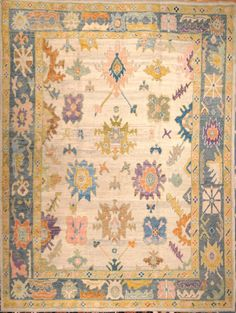 Room Size Hand Knotted Decorative Oushak Rug - Charlotte Rug Gallery