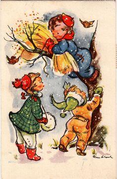 Iben_Clante winter children vintage illustration