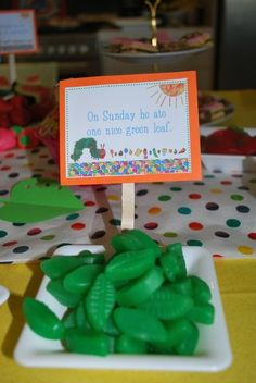 The Very Hungry Caterpillar Party - could be fun to eat our way through the book...maybe use really small portions of each