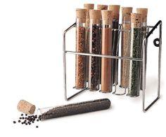 """Spice Rack - Glass Spice Tube Set (Silver) (7""""h x 7""""w x 4.25""""d) RSVP http://www.amazon.com/dp/B000I1UYPC/ref=cm_sw_r_pi_dp_9iT2ub1230V7W"""