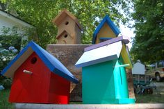 Sunday Scene: Adorable birdhouses in Mattituck... Drivers cruising Main Road might want to slow down and take notice notice of the colorful painted 'Birdhouses' sign posted outside this Mattituck home.