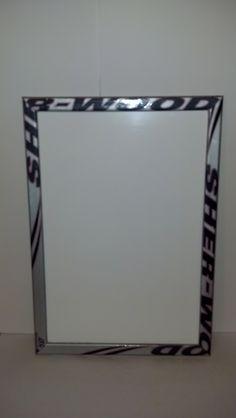 Hockey stick framed dry erase board 23 x 16  by HockeyStickFrames, $50.00