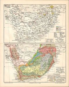 1905 Original Antique Geological Map of South Africa, Showing the Important Mines, Diamond Fields, Gold Fields etc. by CabinetOfTreasures on Etsy