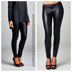 New! Black Vegan Leather Leggings • S, M, L New! Black vegan leather leggings Pair with your favorite sweater for a super chic fall/winter look! Cowl neck sweaters also for sale in my closet Available in sizes S M L These leggings run true to size but are very tight - if you want a looser fit, size up. 96% polyester, 4% spandex ✅Discounts when bundled! No trades No pp Katana Couture  Pants Leggings