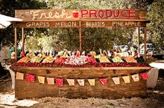 Fun Farmers Market Inspired Wedding: Chelsea + Dillon Event Design by Tammy Mitchell Design & Photos by Burnt Exposure Farmers Market, Bar Original, Mantel Azul, Buffet Dessert, Fruit Buffet, Fruit Stall, Vegetable Stand, Vegetable Shop, Food Stands