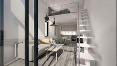 Attefallshus 25 kvm med loft. Möjligt 30kvm | Modulhus Lofts, Loft Design, House Design, Warehouse Living, Modern Home Interior Design, Small Loft, Tiny Spaces, Tiny House Plans, Home And Deco