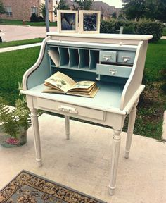 Quaint Solid Wood Roll Top Desk by claudialardizabal on Etsy, $290.00
