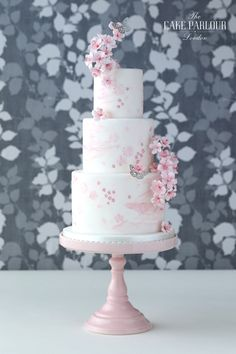 'CHERRY BLOSSOM ART' Wedding Cake - Water-coloured, wafer paper blossom design embellished with silver leaf butterflies and sugar Cherry Blossom.