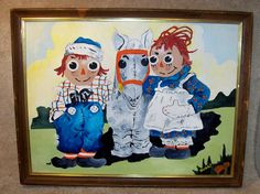 OOAK Raggedy Ann Andy Camel with Wrinkled Knees Painting in Frame, signed Bobbi