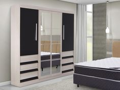 Guarda-roupa Casal 4 Portas com Espelho 6 Gavetas Araplac Sofia - Guarda-roupa…