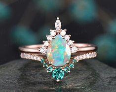 Opal Wedding Ring Set, Rose Gold Ring Set, Black Opal Ring, Wedding Rings Rose Gold, Rose Gold Engagement Ring, Engagement Ring Settings, Black Rings, Blue Opal, Emerald Ring Vintage