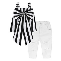 Children's Fashion Clothing for Girls Black Blouse Top and A Casual Jeans and Clothes Collar Group Suit Toddler Girl Outfits, Kids Outfits, Toddler Girls, Baby Girls, Kids Girls, Baby Girl Fashion, Kids Fashion, Cheap Girls Clothes, Sleeveless Outfit